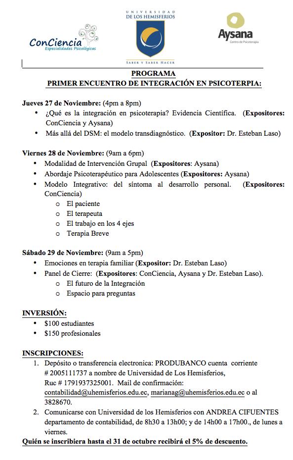 Programa Primer Encuentro de Integración en Psicoterapia